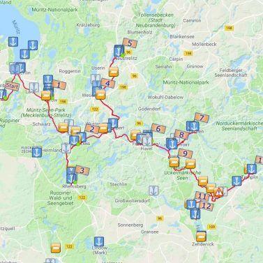 Über Neustrelitz, Lychen, Templin Einwegtour