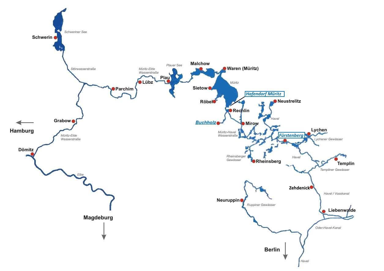 Gewässer Übersicht Reviere Yachtcharter Römer 2020