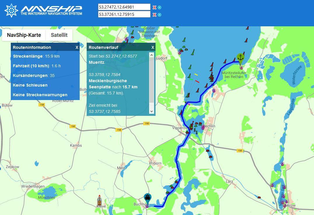 NavShip Boatrouting Kartenausschnitt