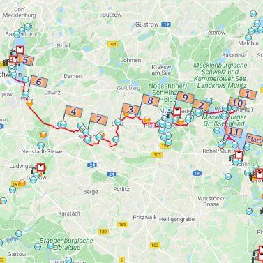 Große Eldefahrt über die Müritz nach Schwerin, geplant mit unserem Touren-Planer.