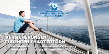 Broschüre Yachtcharter Versicherungen unseres Partners Hamburger Yachtversicherung Schomacker